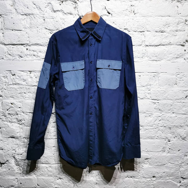 ALEXANDER MCQUEEN BLUE Shirt with light-blue pockets
