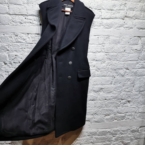 JUNYA WATANABE ARCHIVE AD1998 SLEEVELESS HEAVY WOOL COAT WITH METAL BELT