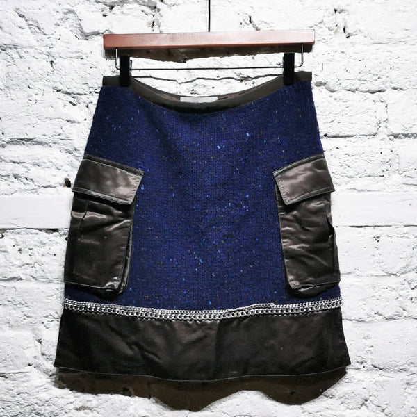 SACAI LUCK WOOL CHAIN SKIRT SIZE 2