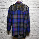 KANSAI YAMAMOTO INTERNATIONAL ARCHIVE LEATHER STUDDED TARTAN JACKET SIZE M