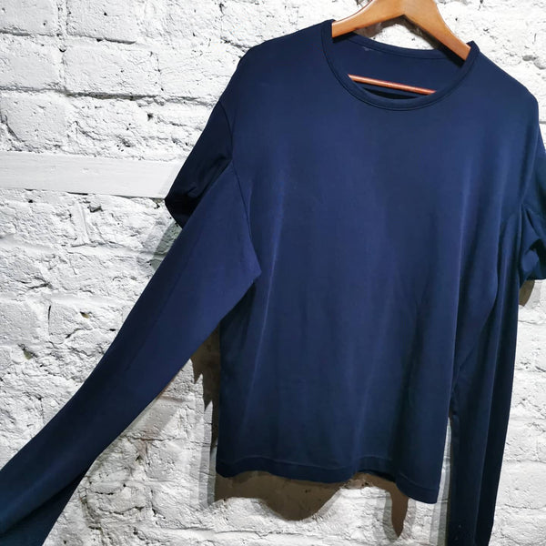 YOHJI YAMAMOTO Y'S NAVY DROPPED SHOULDER DETAIL TOP SIZE 2