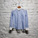 SACAI LUCK LIGHT BLUE COTTON WHITE SHEER BACK SIZE : S