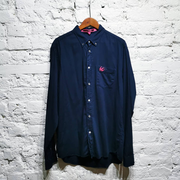 ALEXANDER MCQUEEN MCQ SHIRT NAVY WITH PINK SWALLOW SIZE IT 52