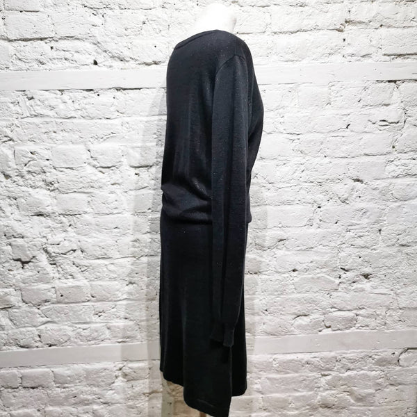A.P.C. BLACK GREEN LUREX COTTON DRESS