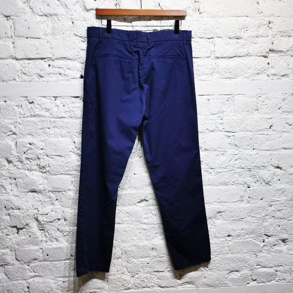 ALEXANDER MCQUEEN McQ Royal Blue Chino COTTON Flat Front Trousers