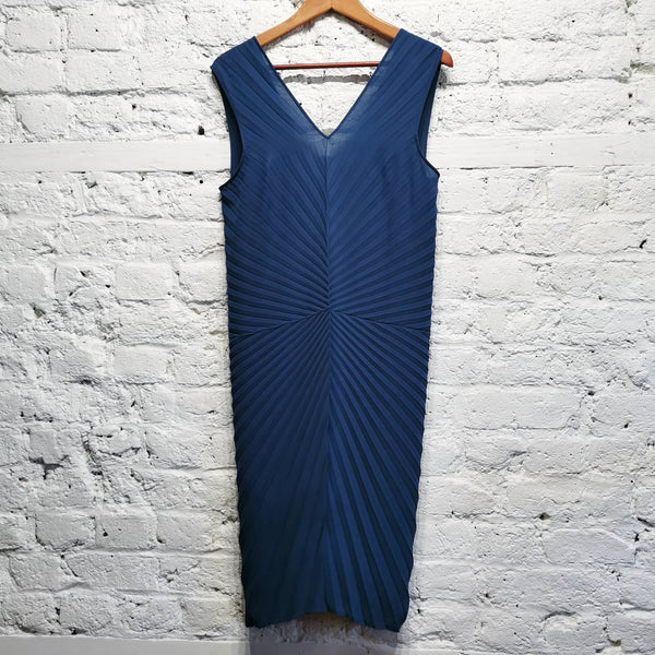 MAISON MARGIELA PLEATED BLUE DRESS SIZE IT 42 UK 10