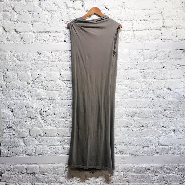 RICK OWENS DRKSHADOW OPEN BACK KHAKI DRESS SIZE S