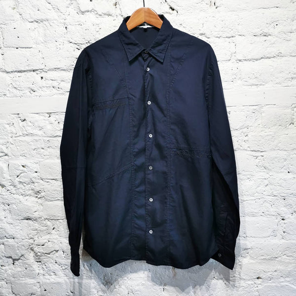 ALEXANDER MCQUEEN BLUE AND BLACK COTTON SHIRT Size It 48