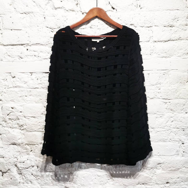 SANDRO BLACK KNIT NET CROSS WEAVE  HAND STITCHED SWEATER