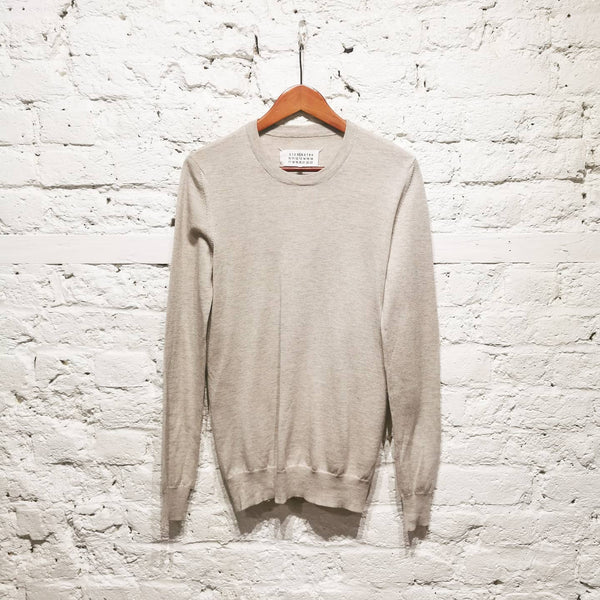 MAISON MARTIN MARGIELA 2014 number 4 NEW WOOL FINE KNIT OATMEAL SILVER GREY SILK ELBOWS