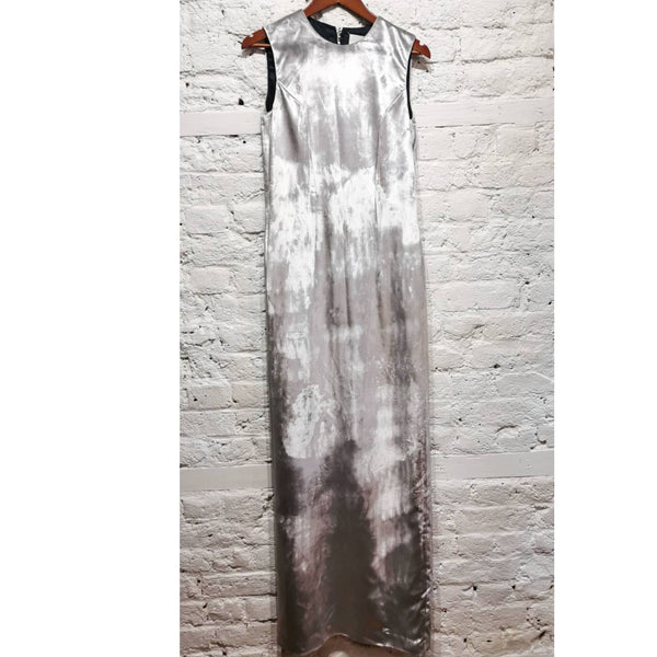 MAISON MARTIN MARGIELA SILVER VELVET APRON STYLE BACK DRESS SIZE IT 42