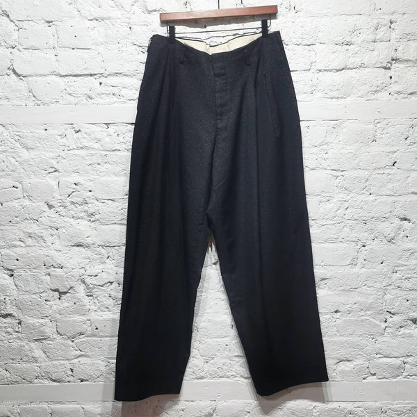 COMME DES GARCONS HOMME PLUS SUPERWIDE PLEATED FINE LUREX WEAVE TROUSERS SIZE M
