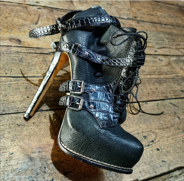 CHRISTIAN DIOR MOCK CROC  TEXTURED LEATHER TRIPLE BUCKLE HEELED ANKLE.BOOT (RE SALE)