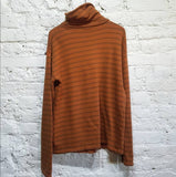 GOSHA RUBCHINSKIY BROWN STRIPE JERSEY TURTLE NECK