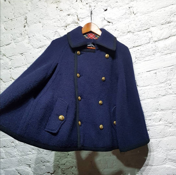 COMME DES GARCONS  TRICOT NAVY WOOL KNIT CAPE