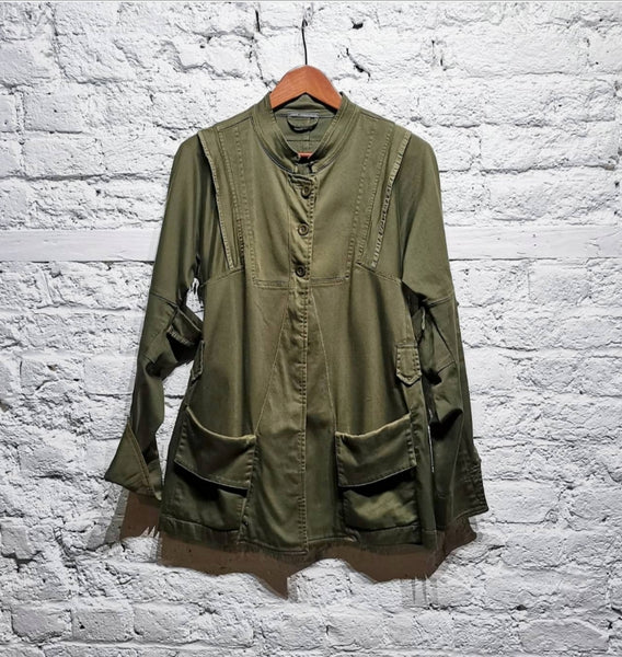 MARITHE ET FRANCOIS GIRBAUD ARMY GREEN REWORKED JACKET