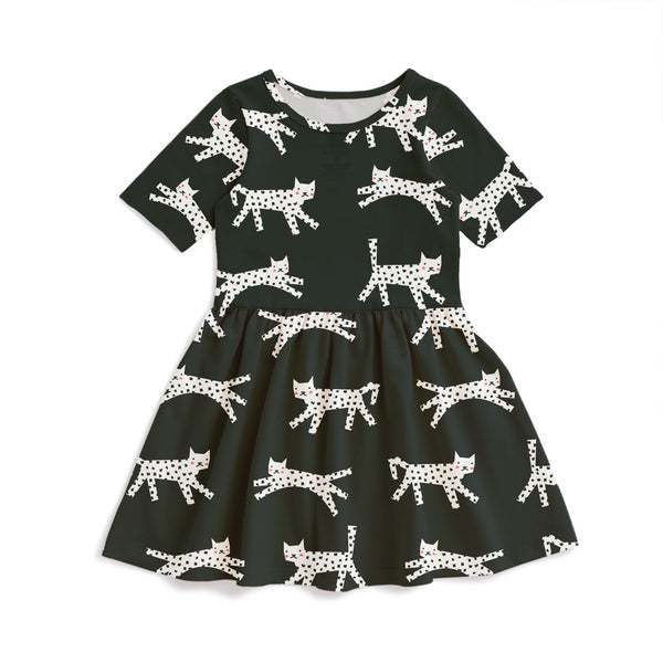 Alberta Dress - Cats Black