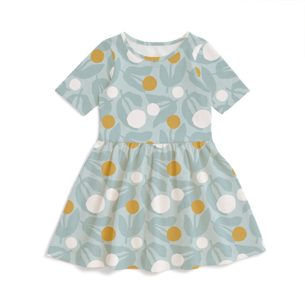 Alberta Dress - Dahlias Pale Blue
