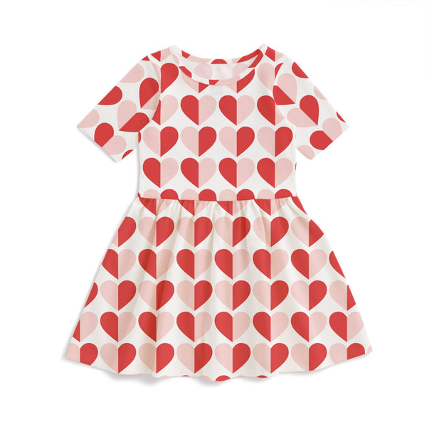 Alberta Dress - Hearts Red & Pink