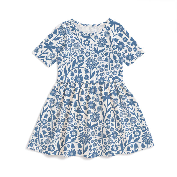 Alberta Dress - Dutch Floral Delft Blue