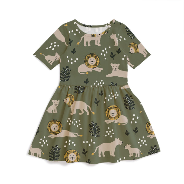 Alberta Dress - Lions Forest Green
