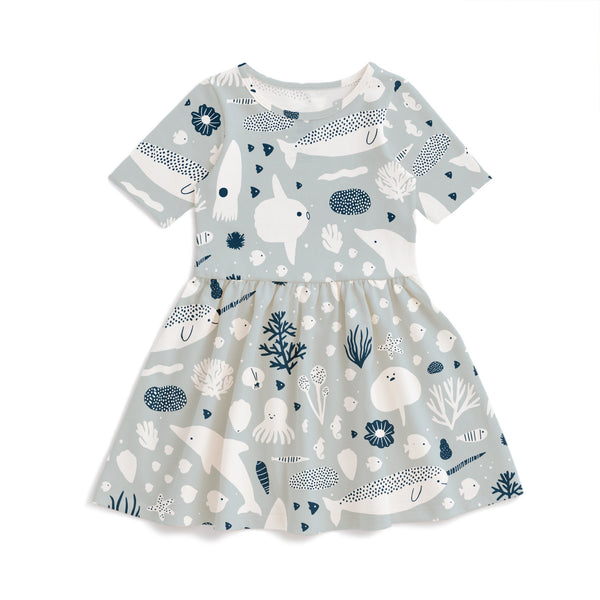 Alberta Dress - Sea Creatures Pale Blue & Navy