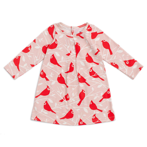 Aspen Baby Dress - Birds In the Trees Red & Pink