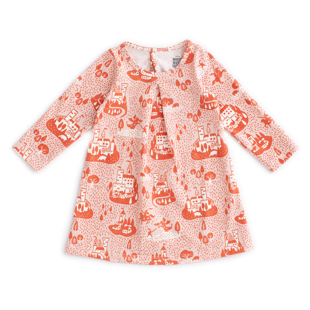 Aspen Baby Dress - Castles & Villages Pink & Orange