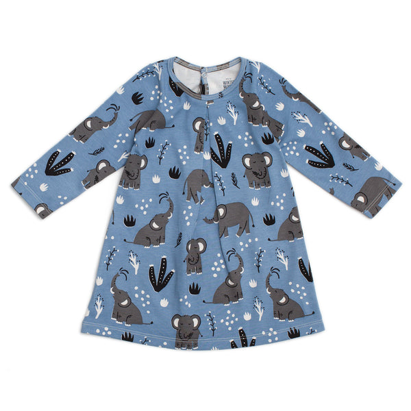 Aspen Baby Dress - Elephants Blue