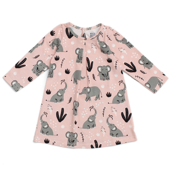 Aspen Baby Dress - Elephants Pink