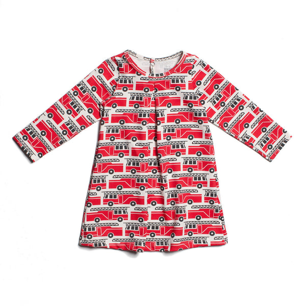 Aspen Baby Dress - Firetrucks Red