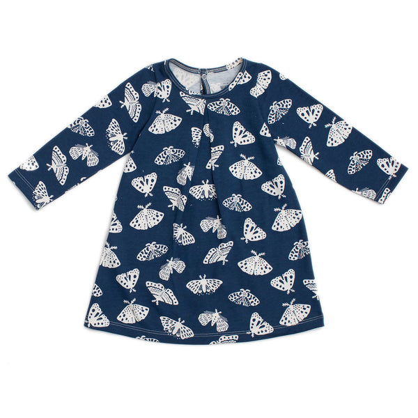 Aspen Baby Dress - Moths Midnight Blue