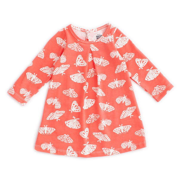 Aspen Baby Dress - Moths Coral