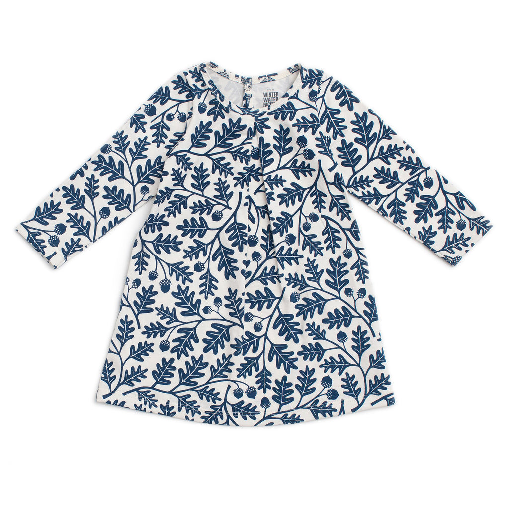 Aspen Baby Dress - Oak Leaves Navy