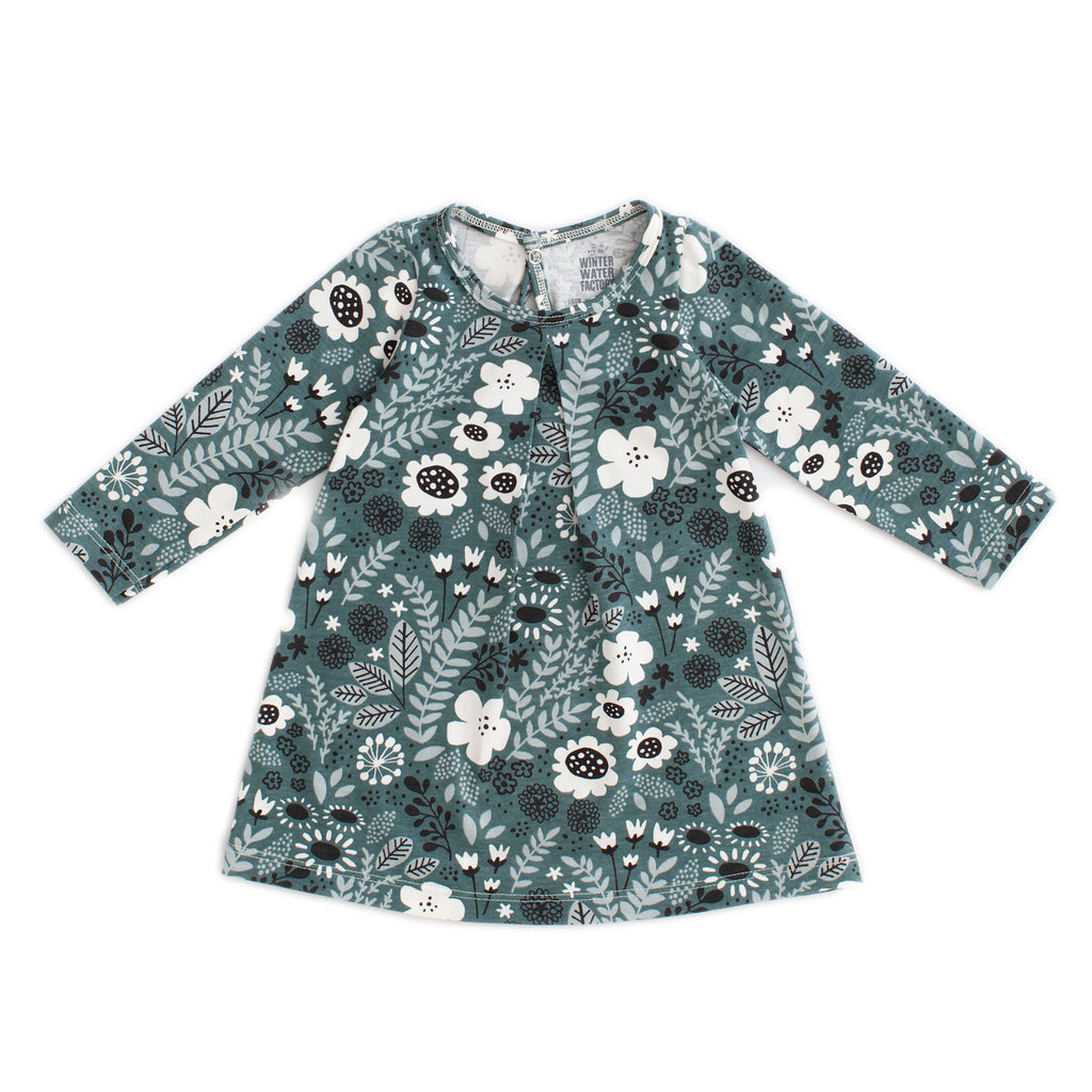 Aspen Baby Dress - Wildflowers Teal