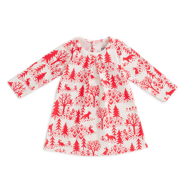 Aspen Baby Dress - Winter Scenic Red