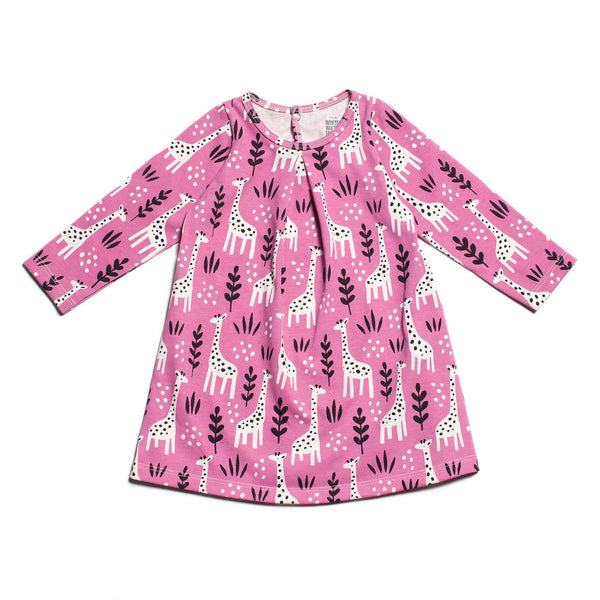 Aspen Baby Dress - Giraffes Dusty Rose