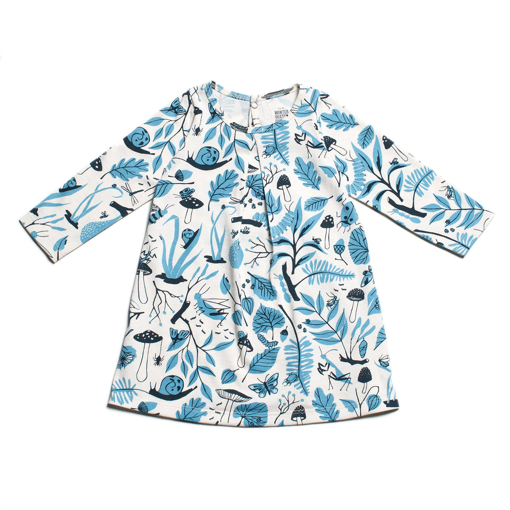 Aspen Baby Dress - Leaves & Bugs Blue