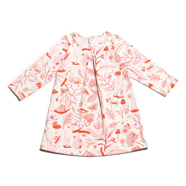 Aspen Baby Dress - Leaves & Bugs Red & Pink