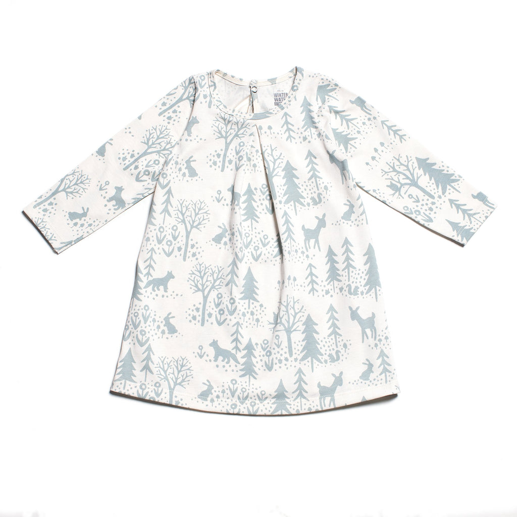 Aspen Baby Dress - Winter Scenic Pale Blue