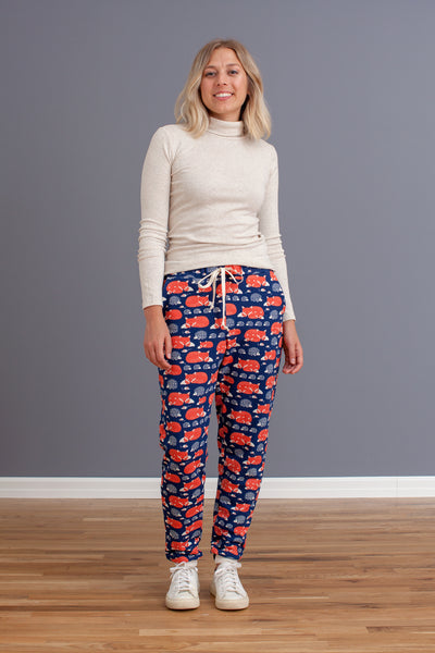 Adult Sweatpants - Foxes & Hedgehogs Navy & Orange