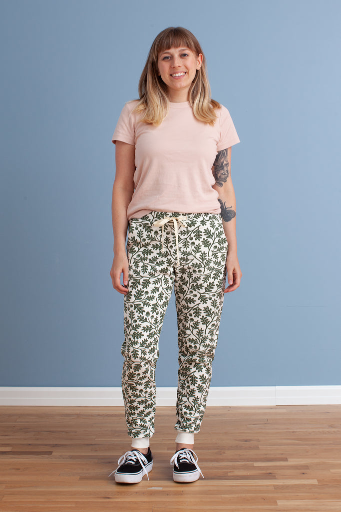Adult Sweatpants - Oak Leaves Forest Green