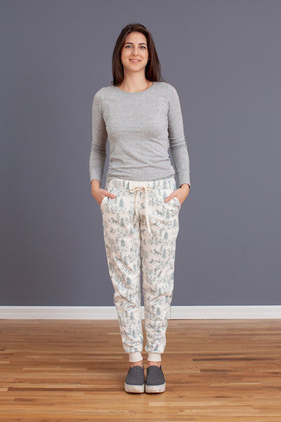 Adult Sweatpants - Winter Scenic Pale Blue