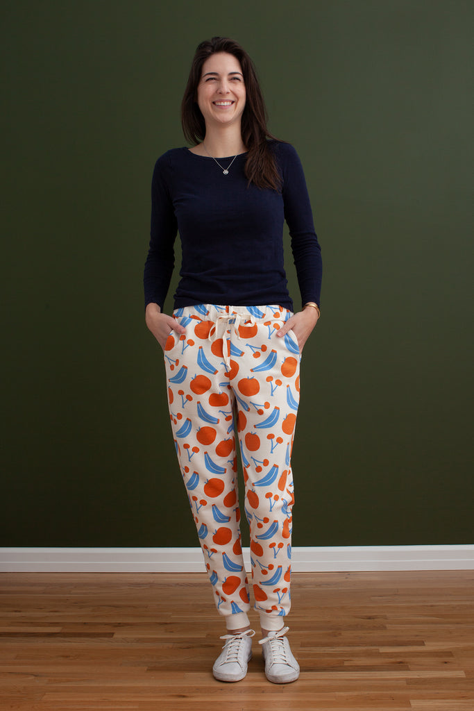 Adult Sweatpants - Yummy Fruit Blue & Orange