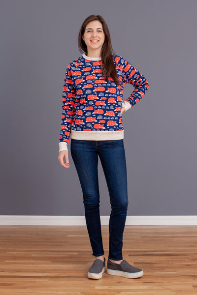 Adult's Sweatshirt - Foxes Navy & Orange