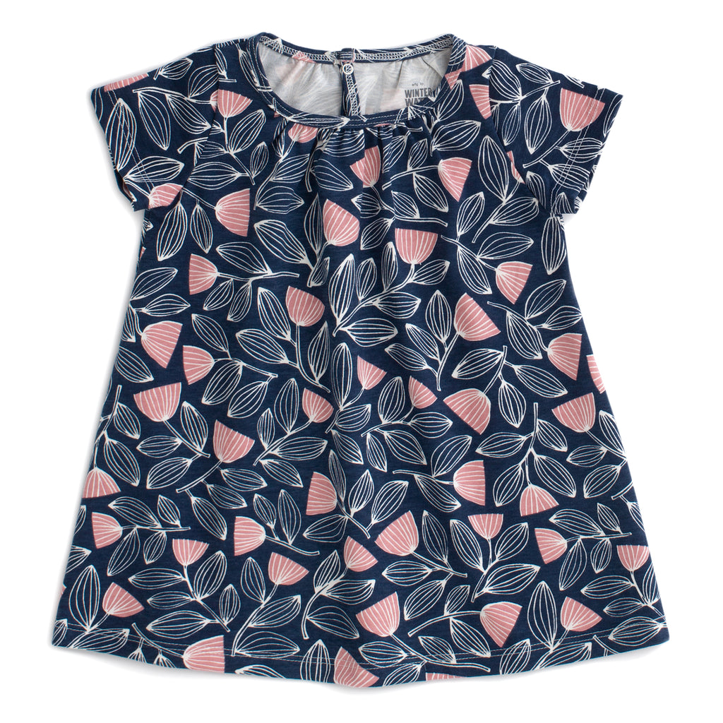 Azalea Baby Dress - Holland Floral Midnight Blue & Dusty Pink