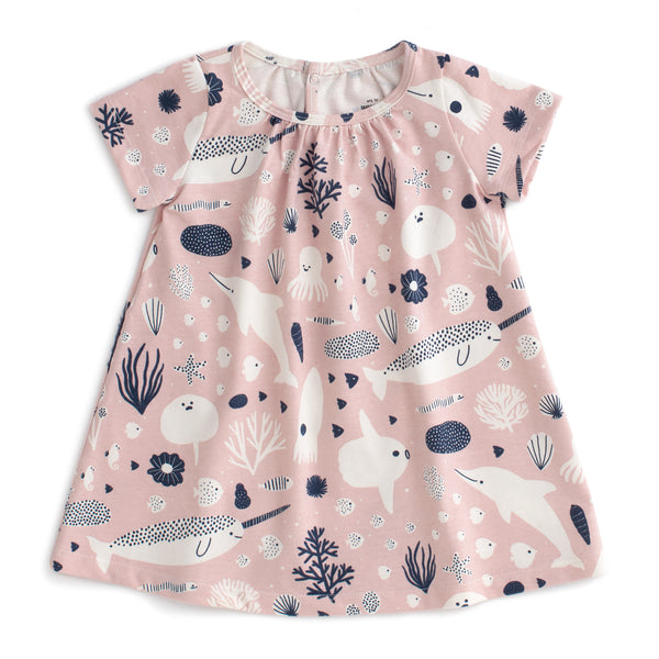 Azalea Baby Dress - Sea Creatures Blush Pink & Navy