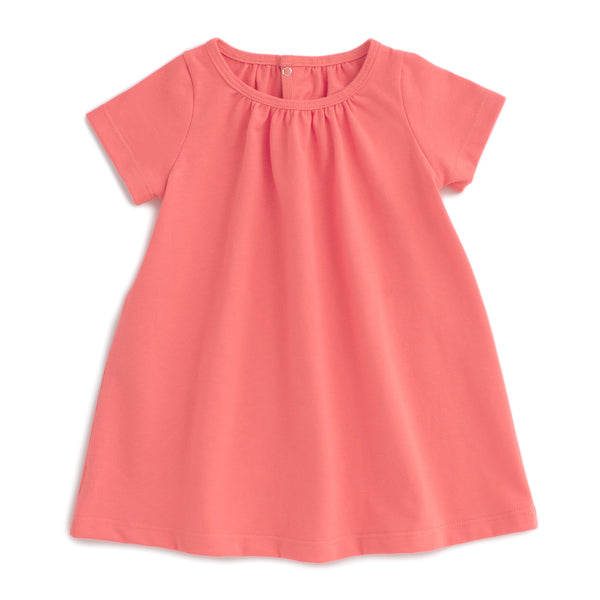 Azalea Baby Dress - Solid Coral