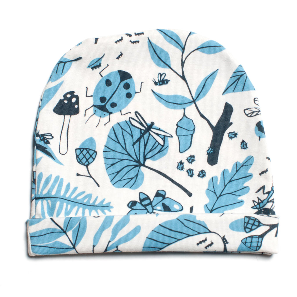 Baby Hat - Leaves & Bugs Blue