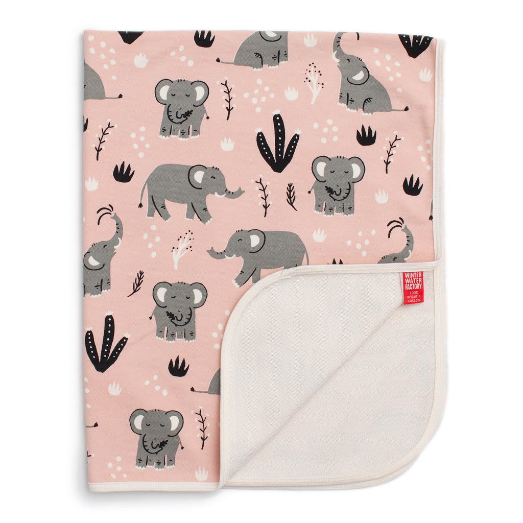 French Terry Blanket - Elephants Pink